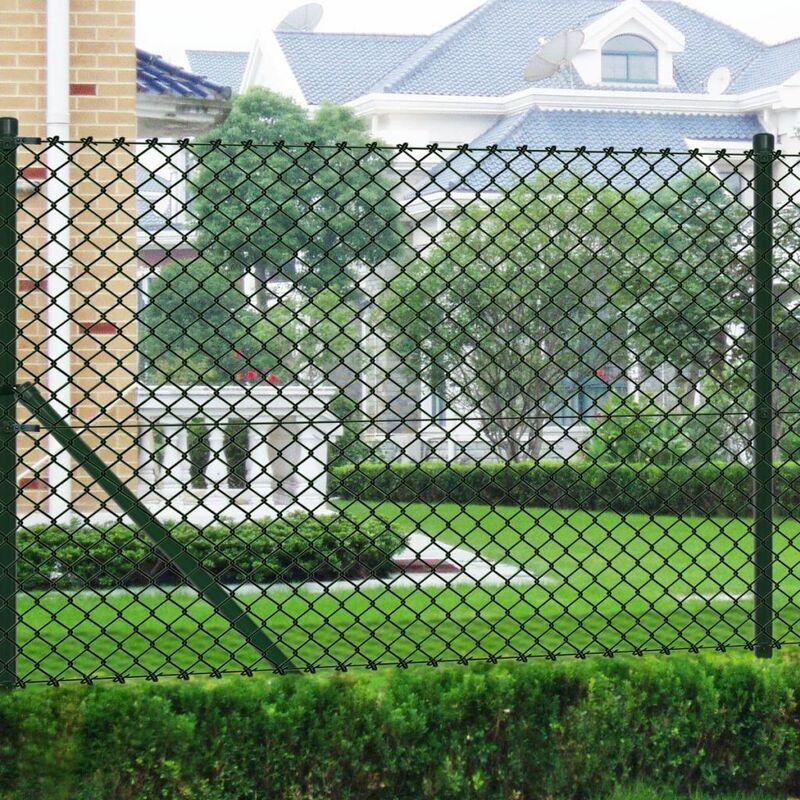 Topdeal VDYU03533_FR Clôture à mailles avec poteaux Acier galvanisé 1,5x25 m