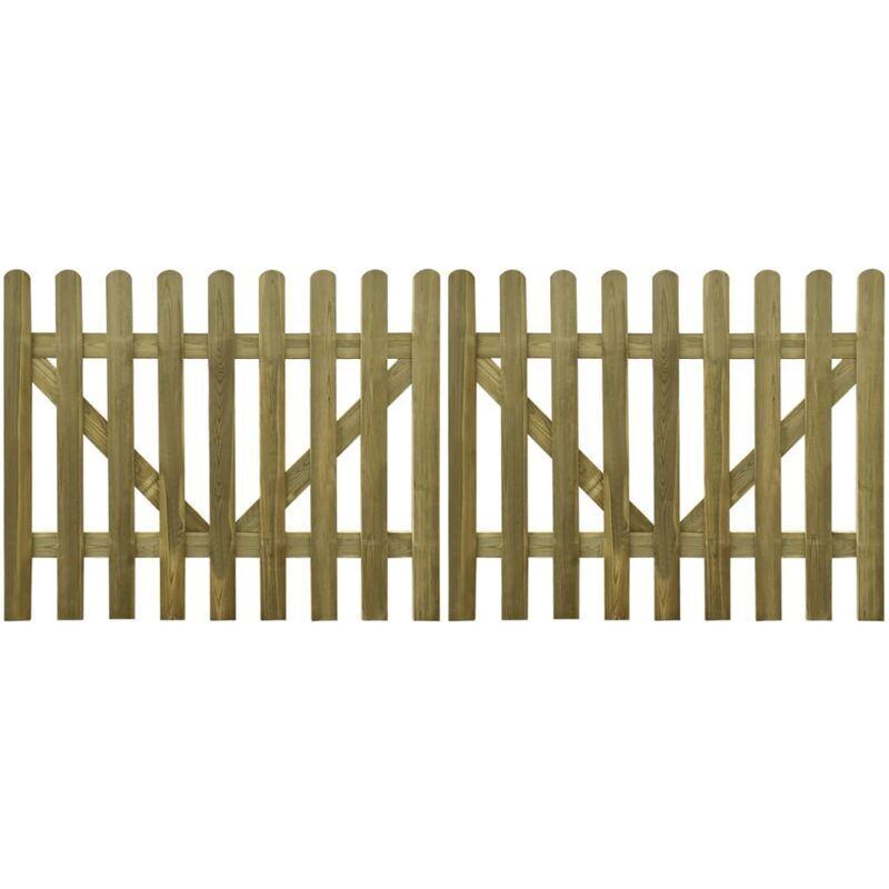 TRUE DEAL Portail de clôture à piquets 2 pcs Bois imprégné 300x120 cm - True Deal
