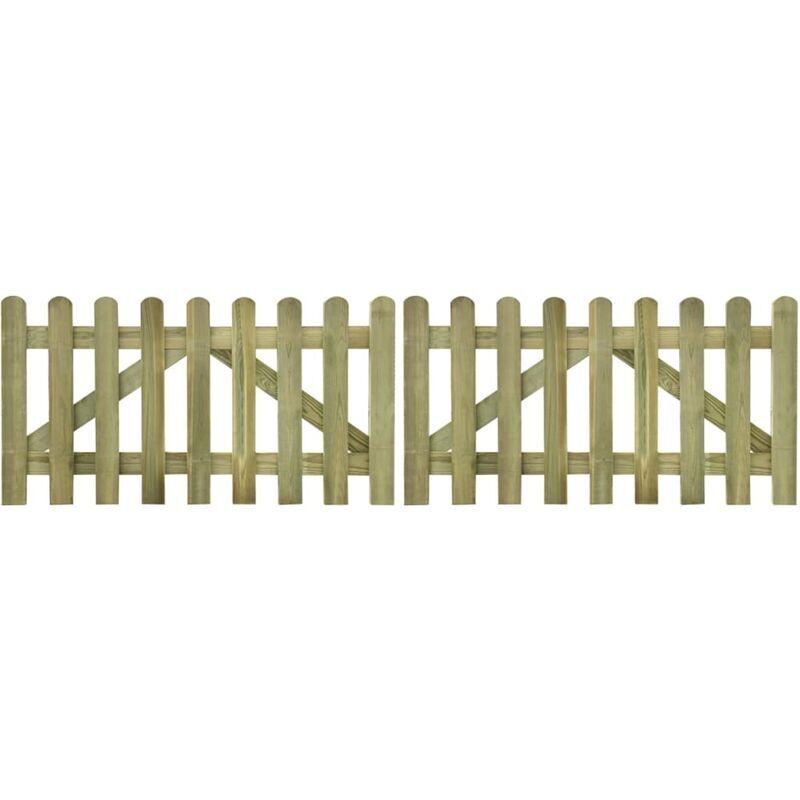 TRUE DEAL Portail de clôture à piquets 2 pcs Bois imprégné 300x80 cm - True Deal