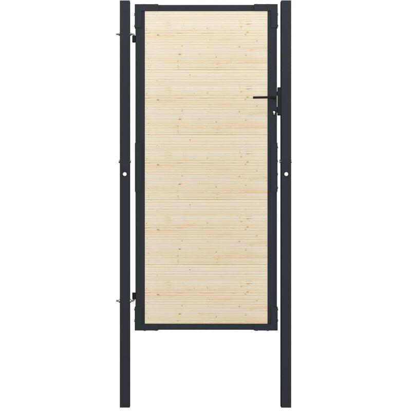 True Deal Portail de clôture en acier et bois d'épicéa 107x250 cm