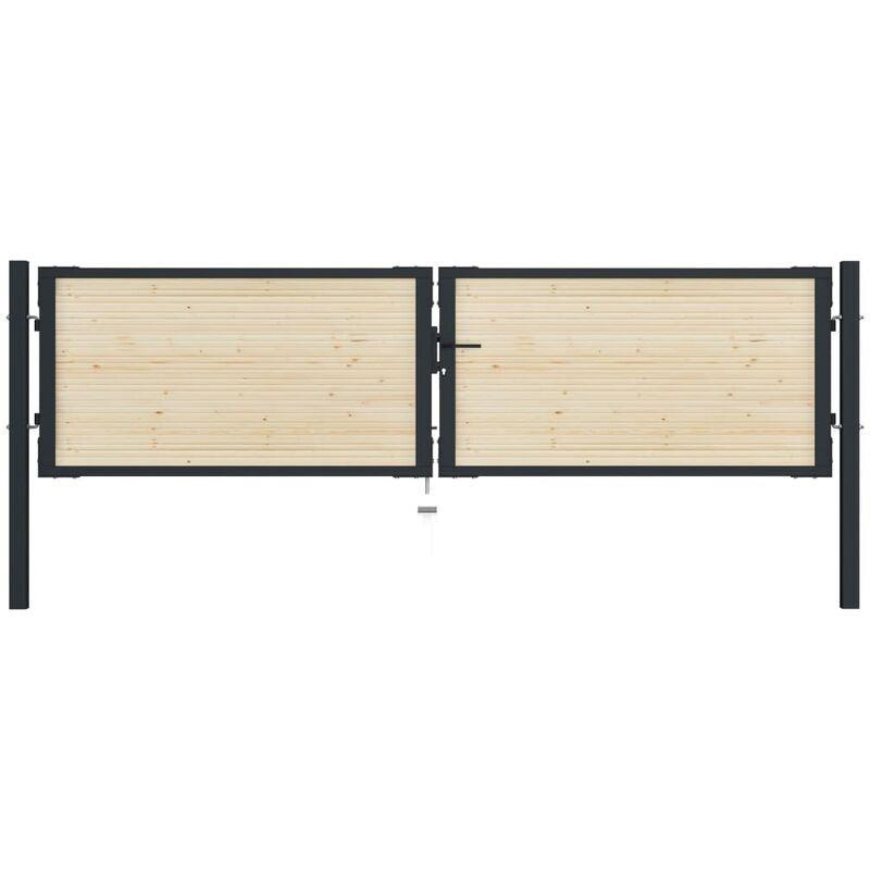 True Deal Portail de clôture en acier et bois d'épicéa 310x125 cm