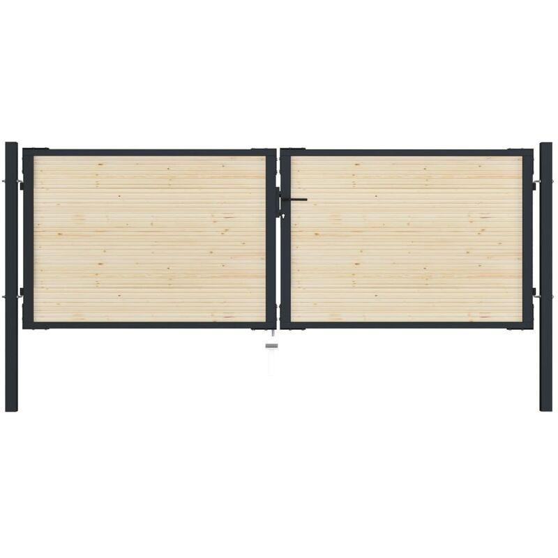 True Deal Portail de clôture en acier et bois d'épicéa 310x150 cm