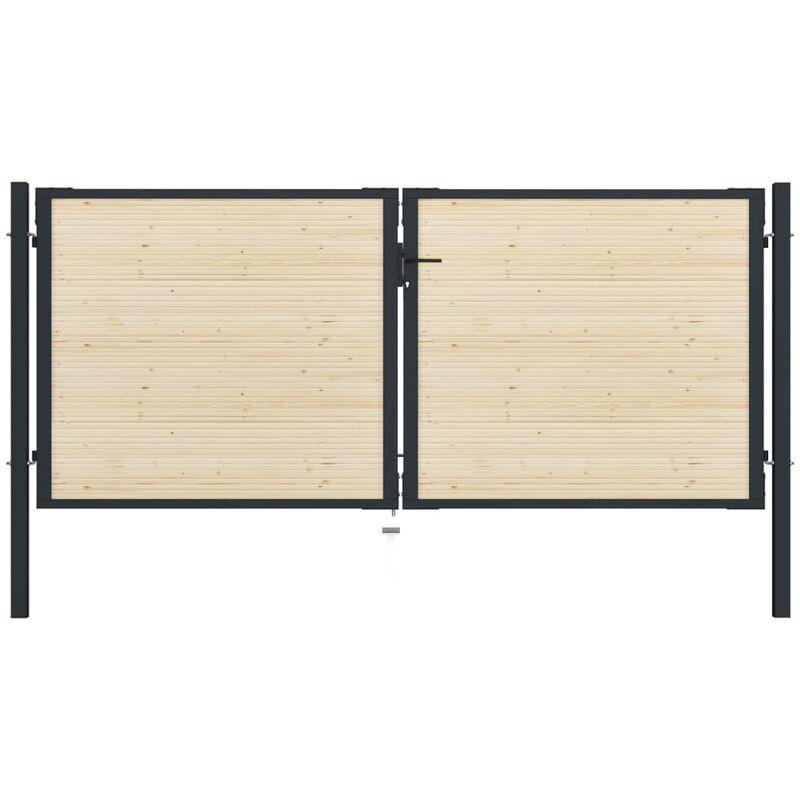 TRUE DEAL Portail de clôture en acier et bois d'épicéa 310x175 cm - True Deal
