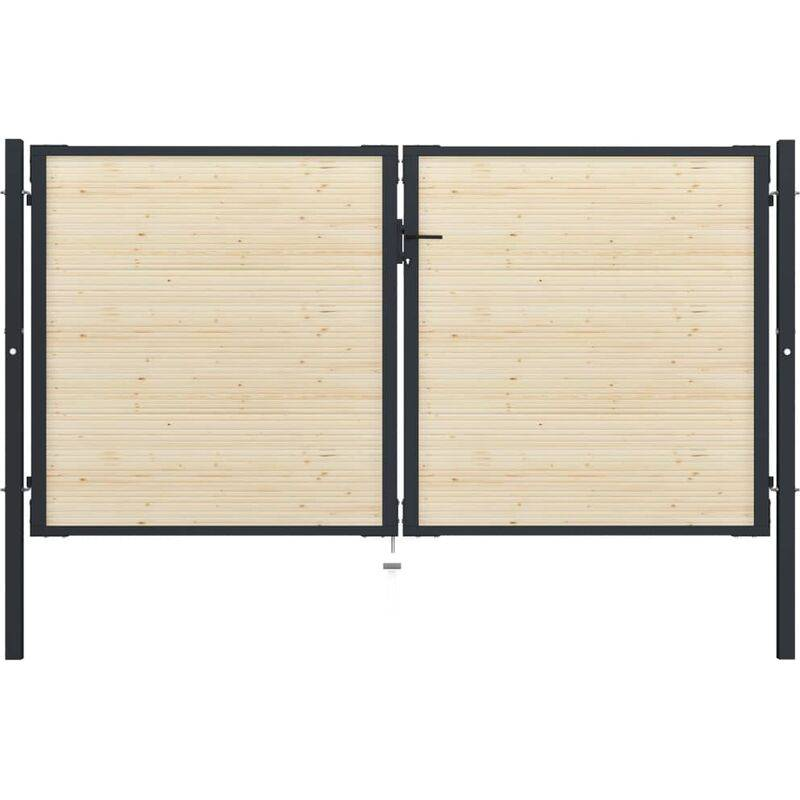 True Deal Portail de clôture en acier et bois d'épicéa 310x200 cm