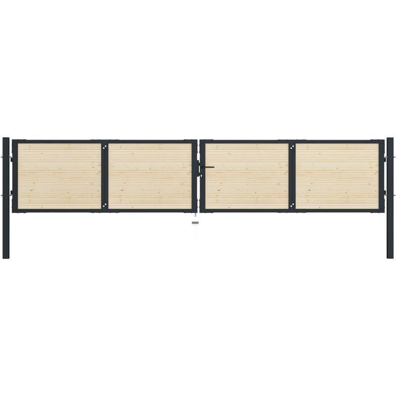 True Deal Portail de clôture en acier et bois d'épicéa 408x125 cm