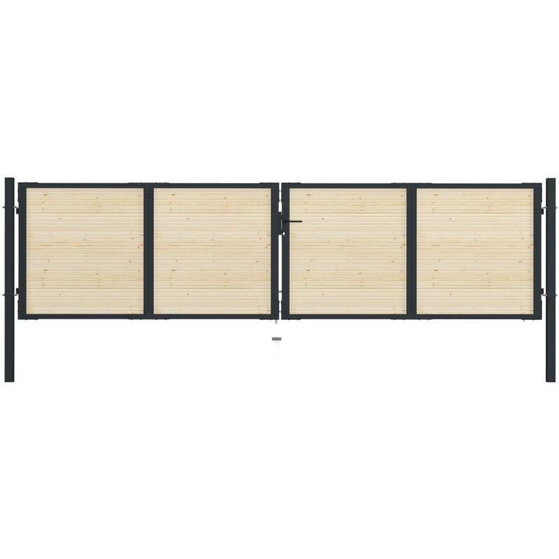 True Deal Portail de clôture en acier et bois d'épicéa 408x150 cm