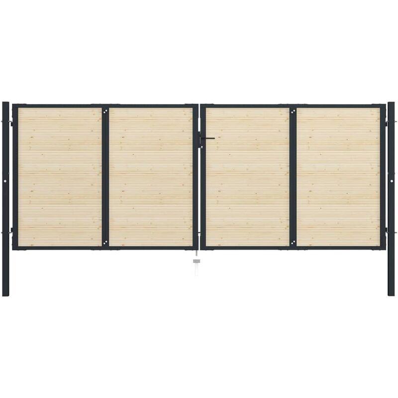 TRUE DEAL Portail de clôture en acier et bois d'épicéa 408x200 cm - True Deal