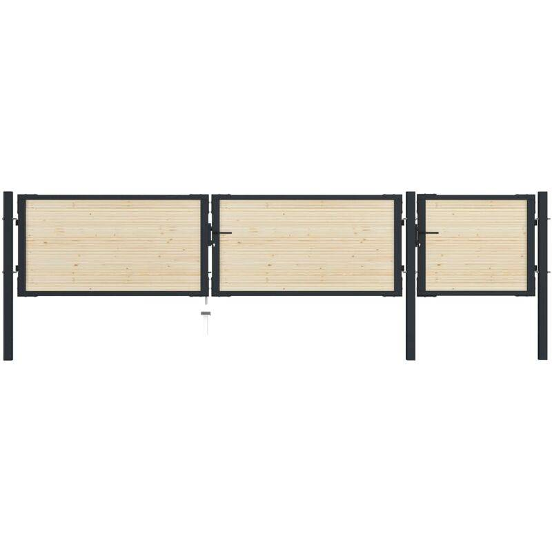 True Deal Portail de clôture en acier et bois d'épicéa 413x125 cm