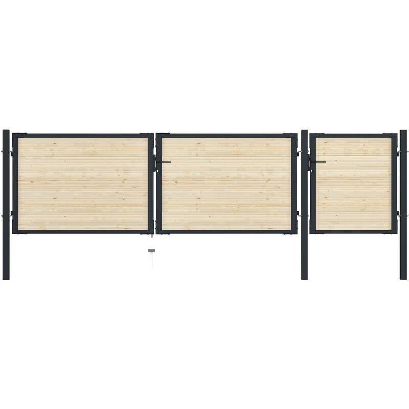 True Deal Portail de clôture en acier et bois d'épicéa 413x150 cm