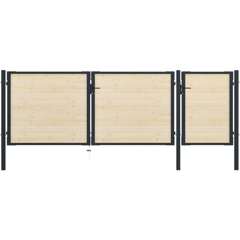 True Deal Portail de clôture en acier et bois d'épicéa 413x175 cm