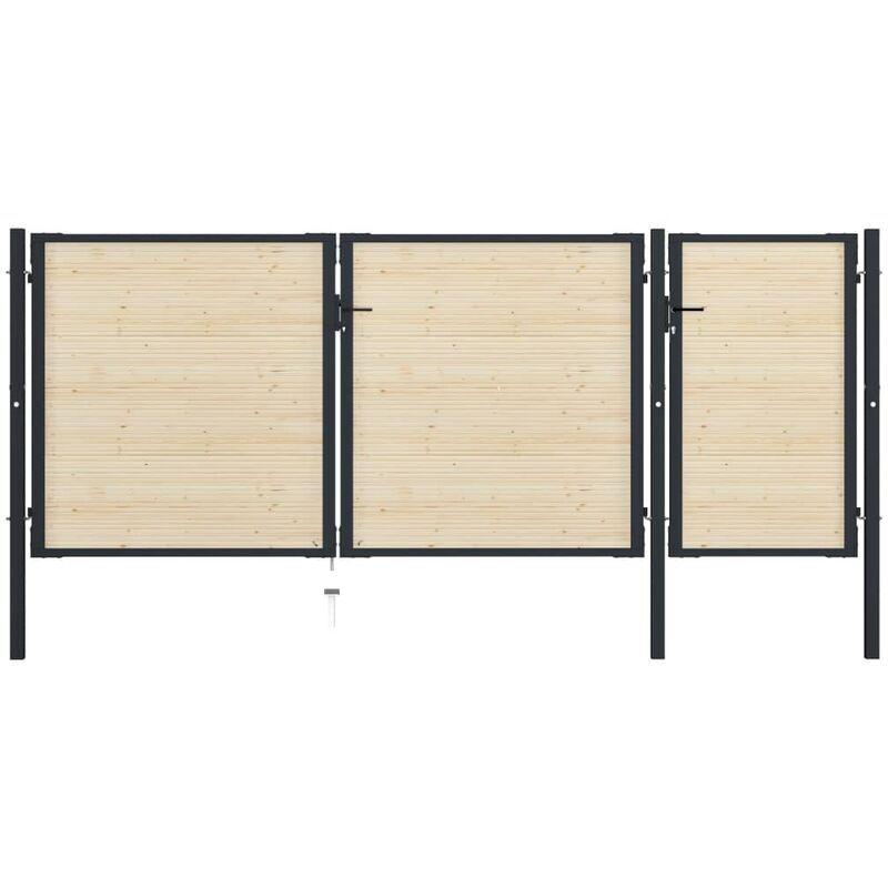 True Deal Portail de clôture en acier et bois d'épicéa 413x200 cm