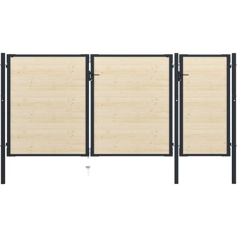 True Deal Portail de clôture en acier et bois d'épicéa 413x225 cm