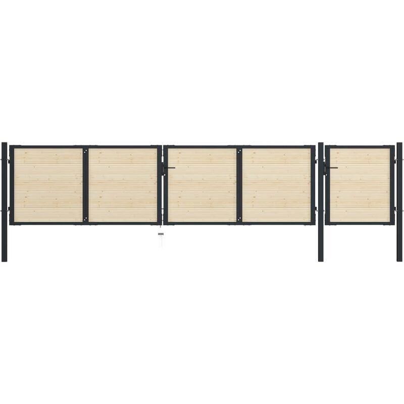 True Deal Portail de clôture en acier et bois d'épicéa 513x150 cm