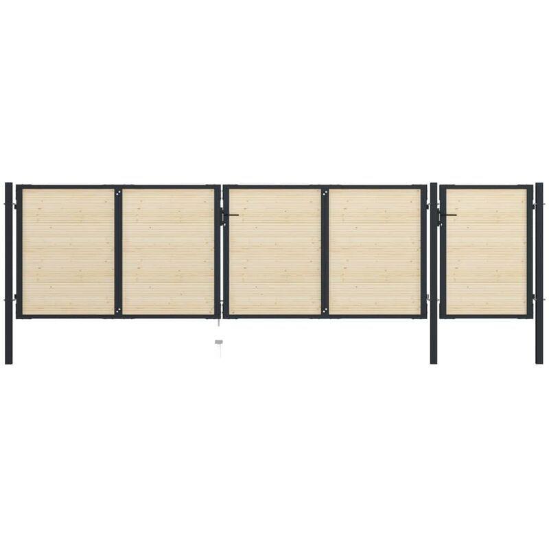 True Deal Portail de clôture en acier et bois d'épicéa 513x175 cm