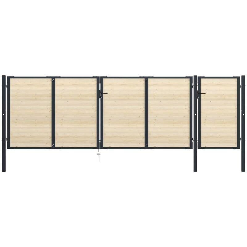 TRUE DEAL Portail de clôture en acier et bois d'épicéa 513x200 cm - True Deal