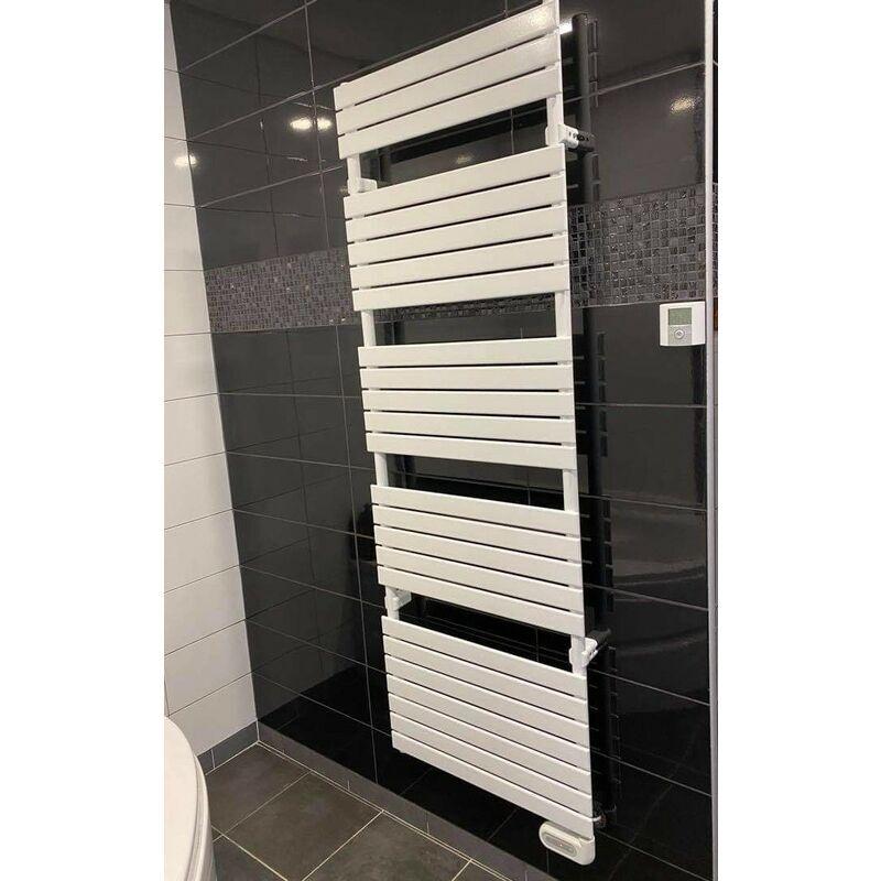 ALTERNA Sèche-serviette électrique 1200W H1740mm L606mm blanc tubes plats 50X10mm