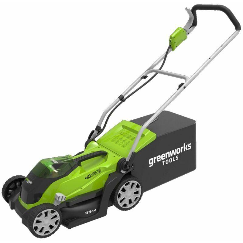 Greenworks Tondeuse à gazon et batterie 2 Ah 2 x 40V G40LM35 2501907UC