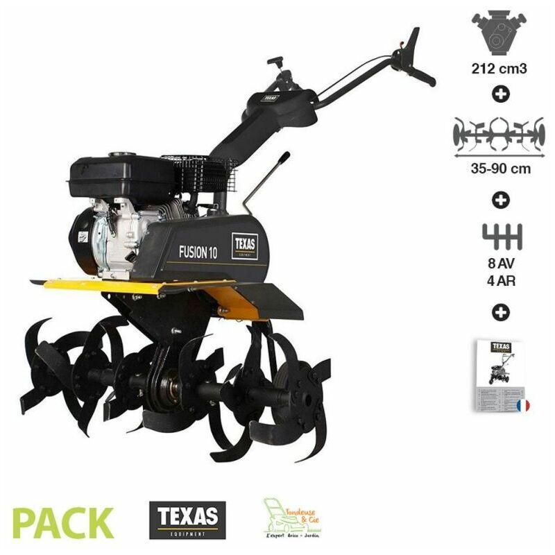 Texas – Motoculteur thermique 212 cm3 8 vitesses avant 4 arrière largeur travail 35 à 90 cm Fusion 10TG Vario