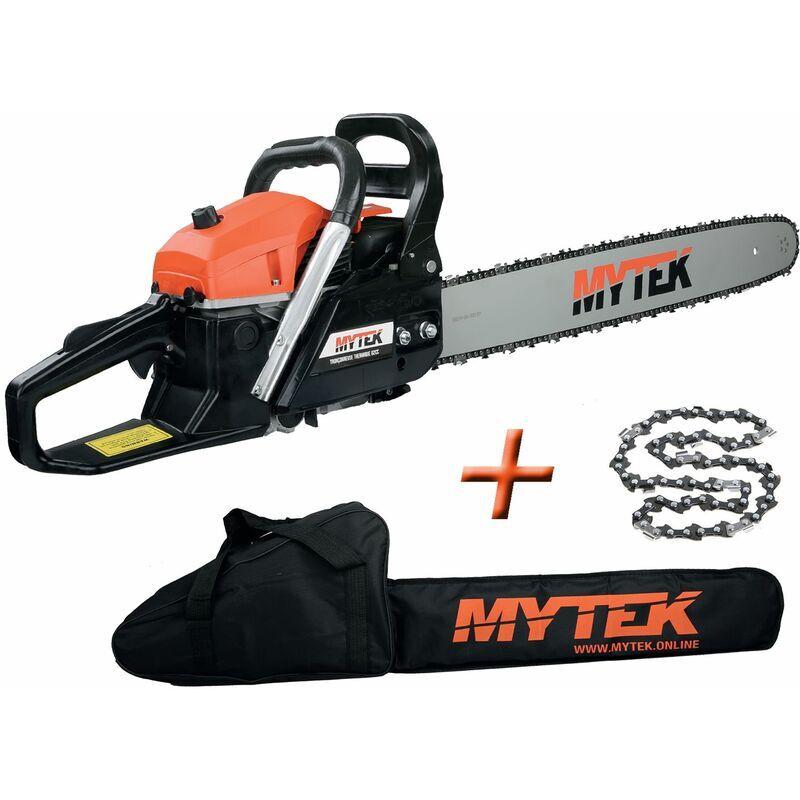 MYTEK tronçonneuse thermique 62cm3 avec 2 chaines guide 60cm et housse - gpsot83230