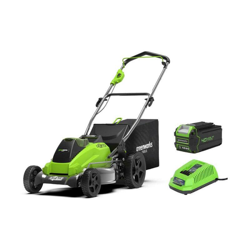 Tondeuse Brushless GREENWORKS 40V – Coupe de 45cm – 1 batterie 4,0 Ah – 1 chargeur – GD40LM45K4