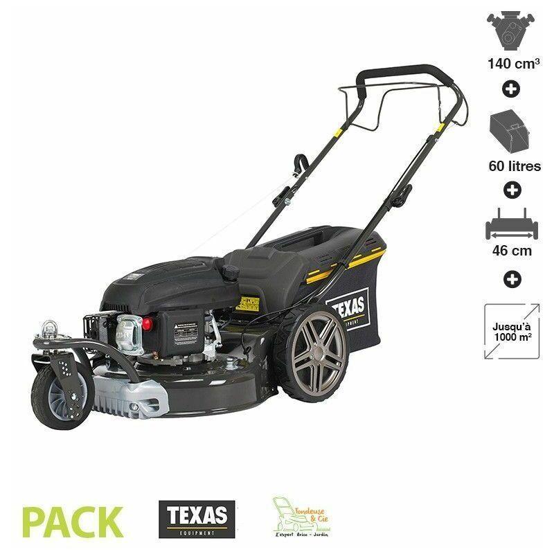 TEXAS Tondeuse thermique tractée 139 cc 3 roues coupe 46cm mulching TEXAS Premium