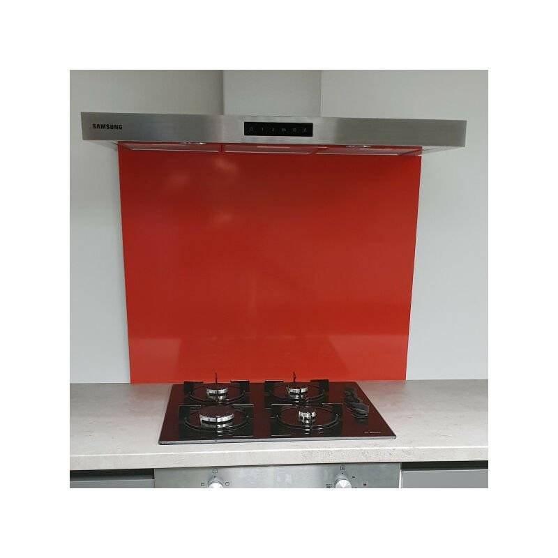 ALUCOULEUR Fond de Hotte / Crédence Rouge RAL 3020 -H 35 cm x L 110 cm de 1,5mm