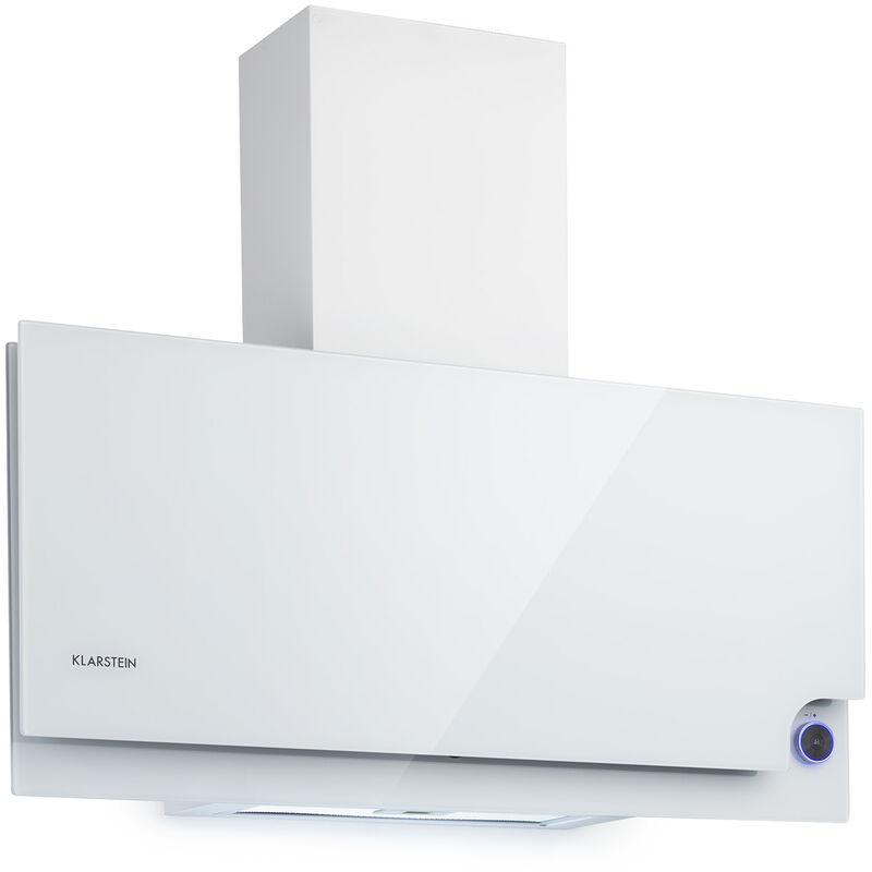klarstein Amelia hotte aspirante 123 W 90x46x23cm LED molette tactile blanche