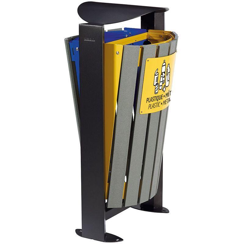 ROSSIGNOL Poubelle 2 x 60 l - sans cendrier - tri papier/ plastique - métal - Recyclé