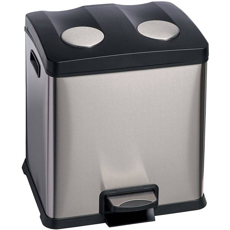 MEDIAL Poubelle à pédale pour tri sélectif   acier inoxydable   Brossé   2 x 12 litres
