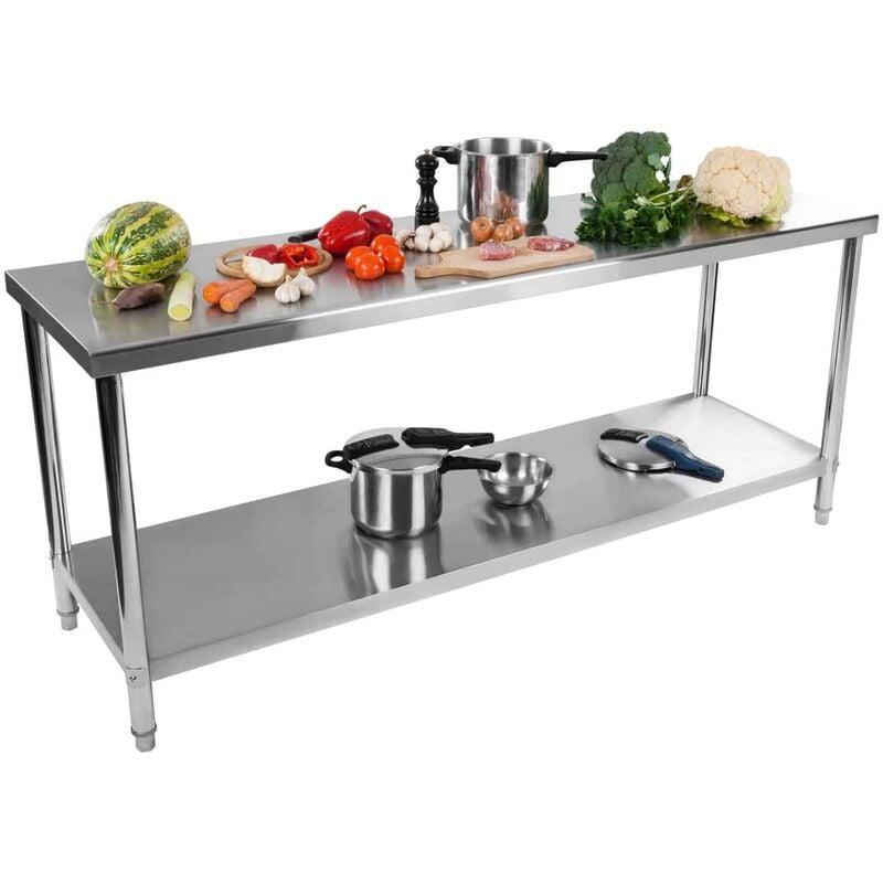 ROYAL CATERING Table De Travail Plan Travail Etagere Professionnel Cuisines Acier Inox 200X60Cm