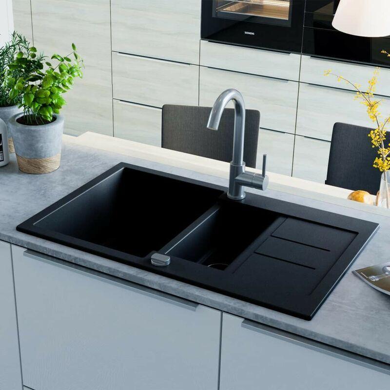 Topdeal VDTD04964_FR évier de cuisine en granit Double bac Noir