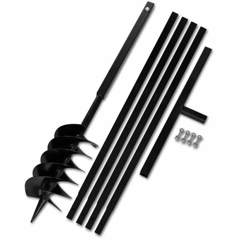 ASUPERMALL Beche et tariere manuelle 150 mm avec Rallonge 5 m acier