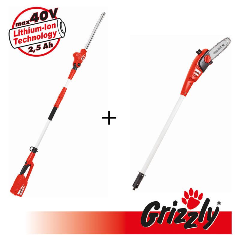 Grizzly Tools 40V 2 en 1, set composé d'un taille-haie télescopique et d'un