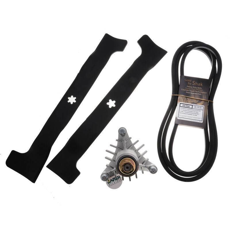 Jardiaffaires – Kit réparation tondeuse autoportée AYP 97cm avec lames, courroies et paliers
