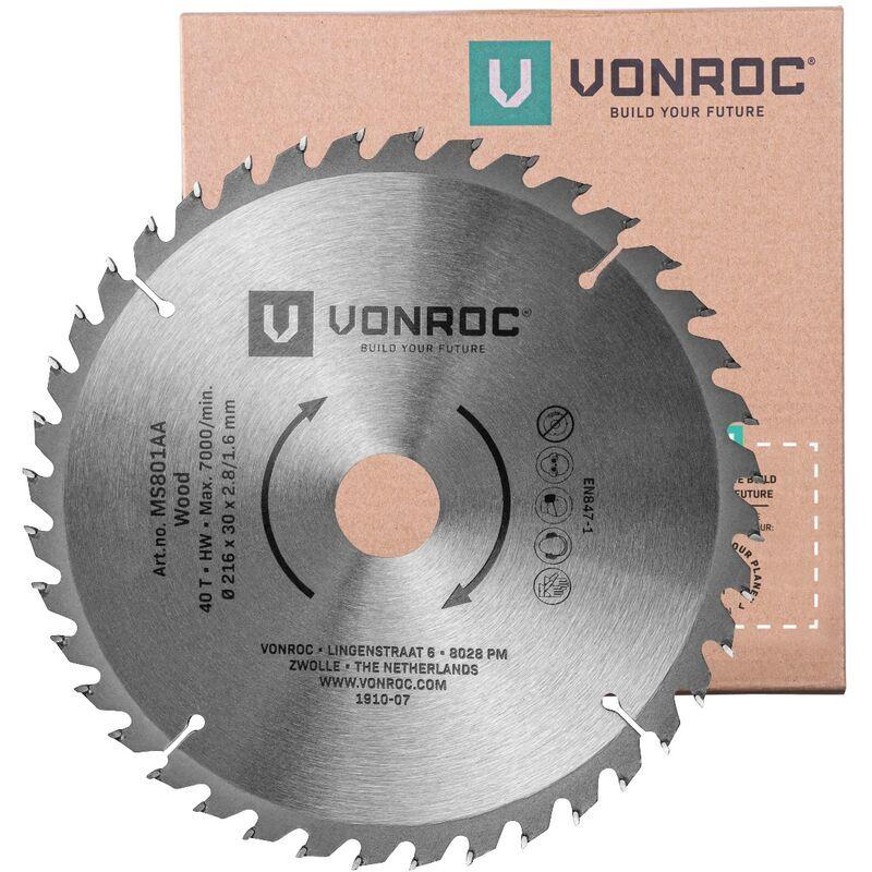VONROC Lame de scie universelle. 216 mm de diamètre – 40 dents – MS801AA