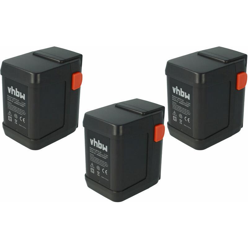 VHBW Lot 3 batteries Li-Ion vhbw 3000mAh (18V) pour outils coupe-bordures Gardena