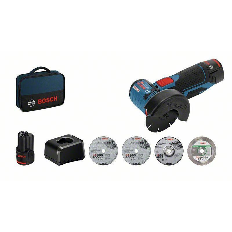 Bosch Professional Meuleuse angulaire sans fil GWS 12V-76, avec 2 x 2.0 Ah