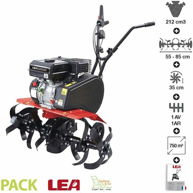 LEA – Motobeche thermique 212cc 4100W 2 vitesses fraisage 55 ou 85cm roues de transport LE42212-85W11