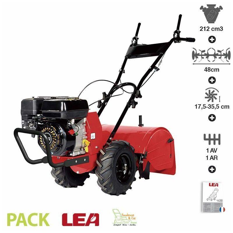 LEA – Motoculteur à fraise arrière moteur 7 Cv 212cc travail 48cm vitesse 1AV 1AR 42212