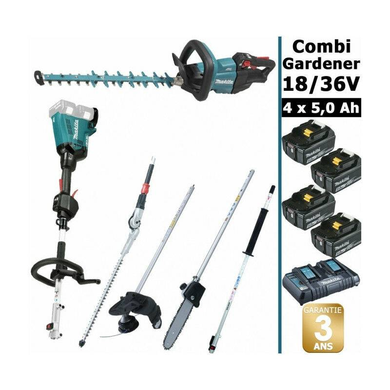 MAKITA Pack 18/36V Combi Gardener: outil multifonction 36V avec 4 accessoires + taille
