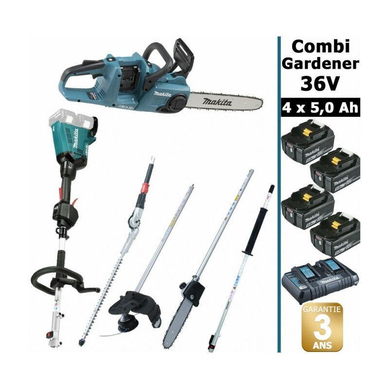 Makita - Pack 36V Combi Gardener: outil multifonction 36V avec 4 accessoires +