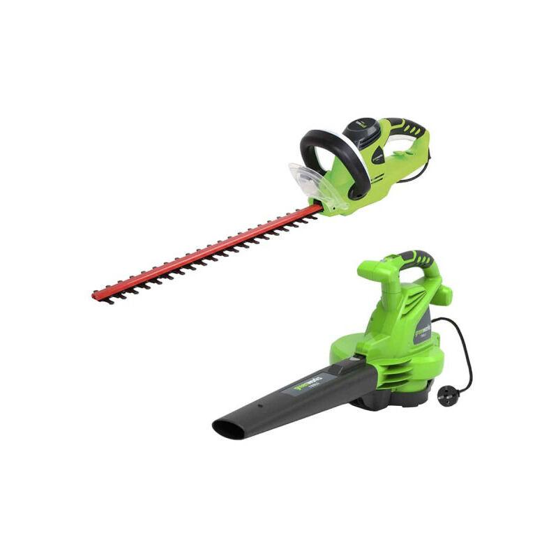 Pack GREENWORKS Souffleur électrique 2800W GBV2800 – Taille-haies électrique 56 cm 500W GHT5056