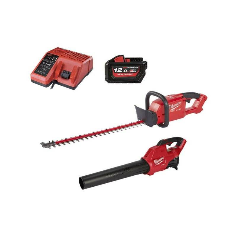 Pack MILWAUKEE FUEL M18 Souffleur FBL-0 – Taille-Haies CHT-0 – Batterie 18V 12.0Ah – Chargeur M12-18C