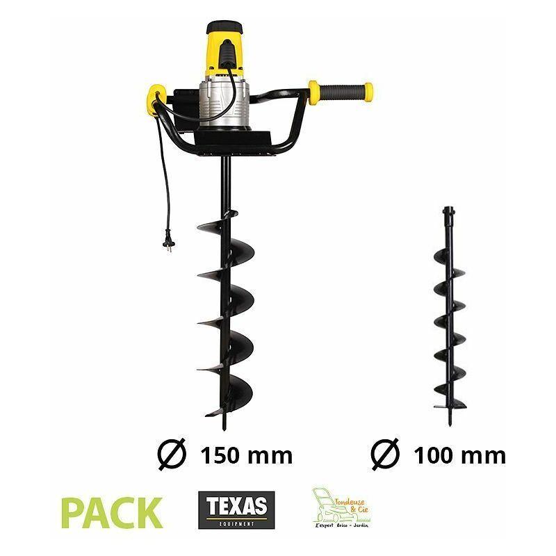 TEXAS Pack tarière électrique 1200W avec 2 vrilles 100 et 150 mm Texas EA1200