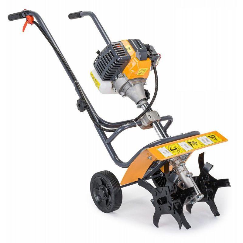 Hucoco – POWER TOOL | Motobineuse thermique 3,8KW 6500/min | Cylindrée 52cm3 | Motoculteur à essence | Outil jardin gazon pelouse | Jaune – Jaune