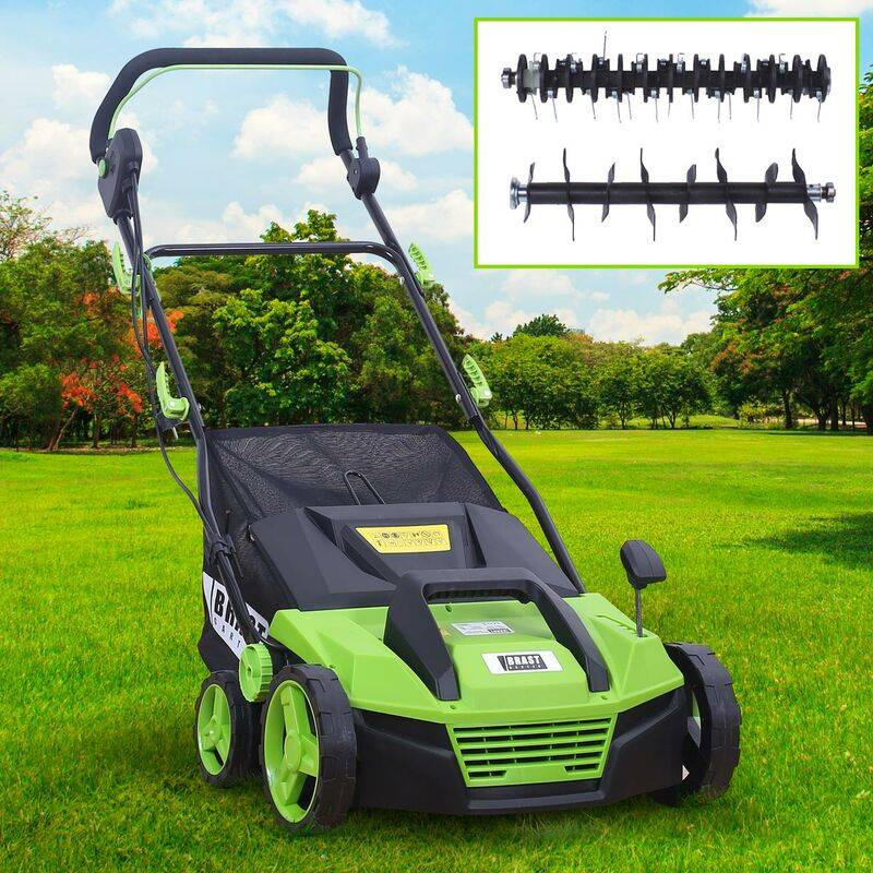 BRAST scarificateur électrique 1600W 38cm 48 l 2en1 aérateur et démousseur pelouse un