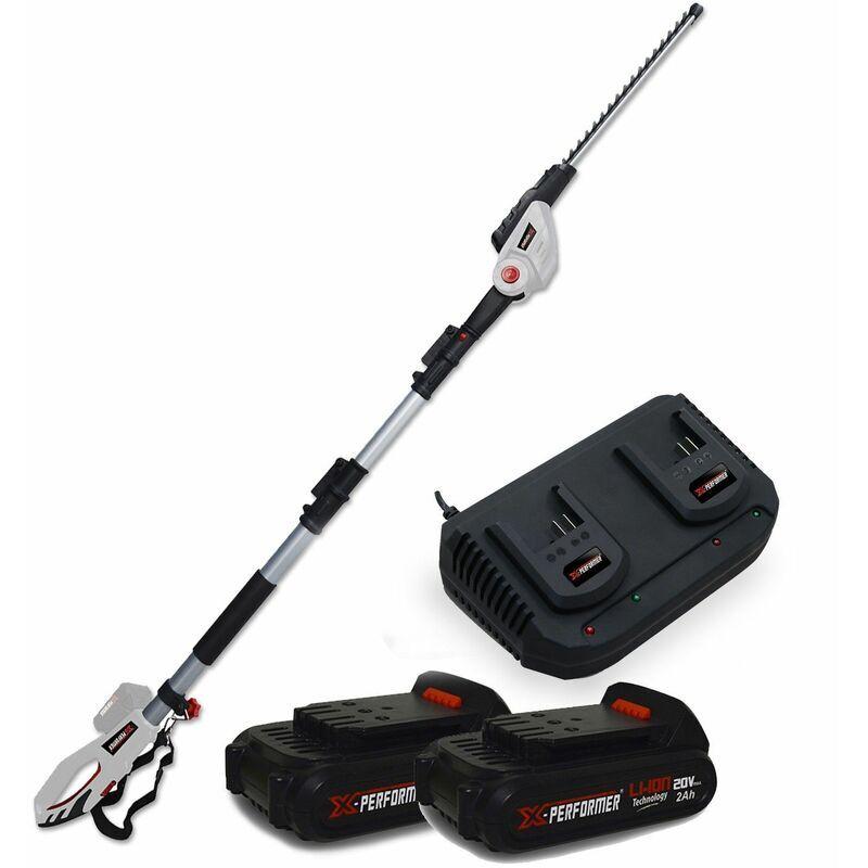 X-performer – Scie à Ebrancher Taille Haies sur perche 20V Xperformer XP2PSTH20LI – Outil portatif -2 Batteries 2Ah et DOUBLE Chargeur inclus
