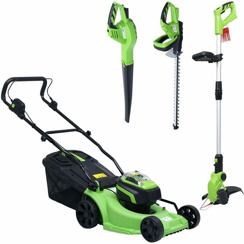 Vidaxl – Tondeuse à gazon sans fil et jeu d'outils électriques de jardin
