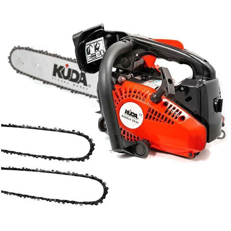 KUDA Tronçonneuse à essence KUDA 25,4 cc 1,29cv deux chaine extras et guide de 30cm