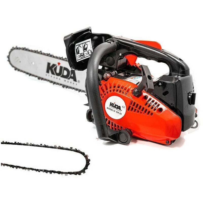 KUDA Tronçonneuse à essence KUDA 25,4 cc 1,29cv une chaine extras et guide de 30cm